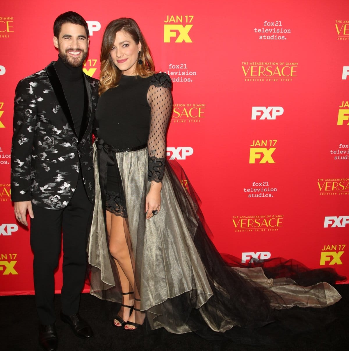 Wearing Emporio Amani, Darren Criss got support from his girlfriend Mia Swier at the premiere of his new series American Crime Story: The Assassination of Gianni Versace