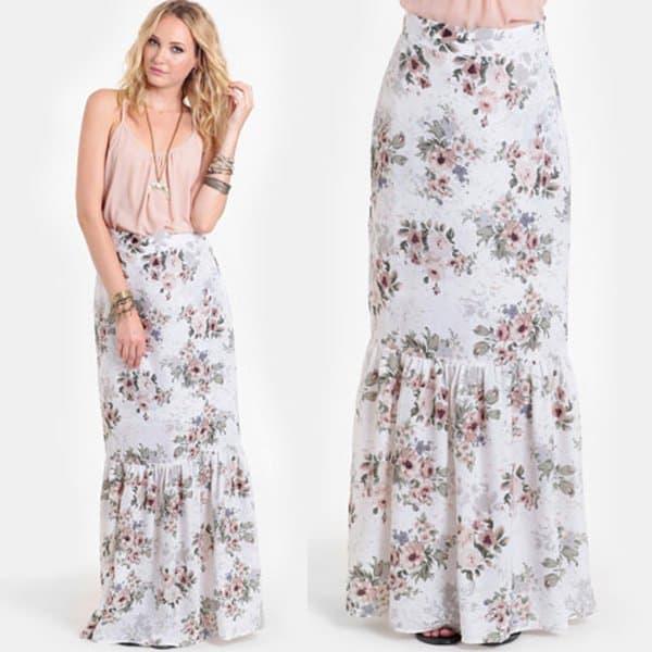 For Love & Lemons Holy Floral Maxi Skirt