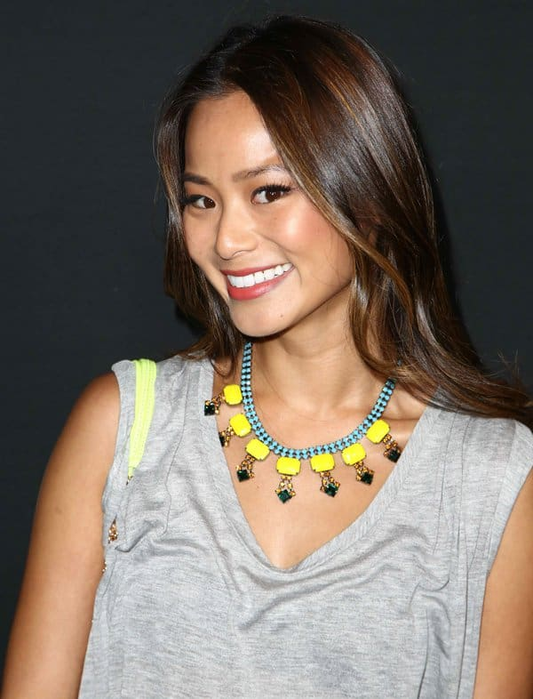Jamie Chung wearing a colorful Dannijo statement necklace