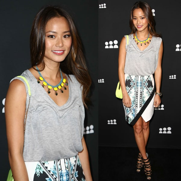 Jamie Chung wearing Finders Keepers 'Coming Home' skirt
