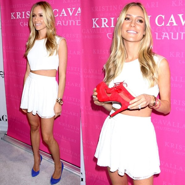 The ever fashionable Kristen Cavallari shows off her collaboration shoe line with Chinese Laundry at the Magic fashion trade show in Las Vegas on August 20, 2013