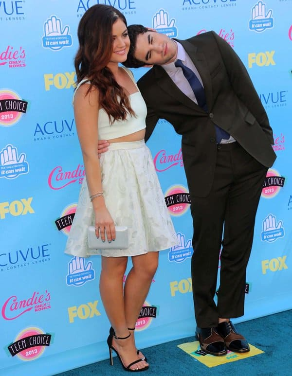 Co-hosts Lucy Hale and Darren Criss at the Teen Choice Awards 2013