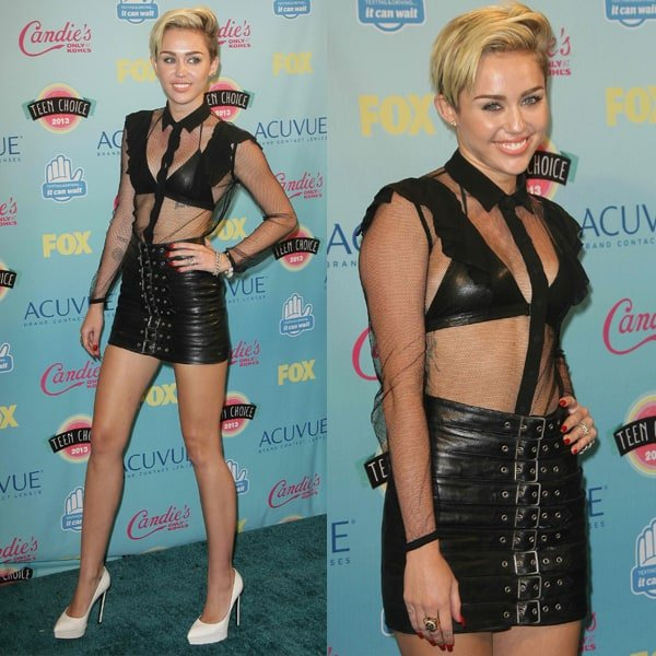 Miley Cyrus in an eclectic mix of femininity and roughness