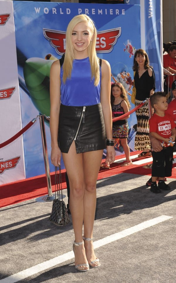 Peyton List flaunted her incredible legs in a tiny leather skirt