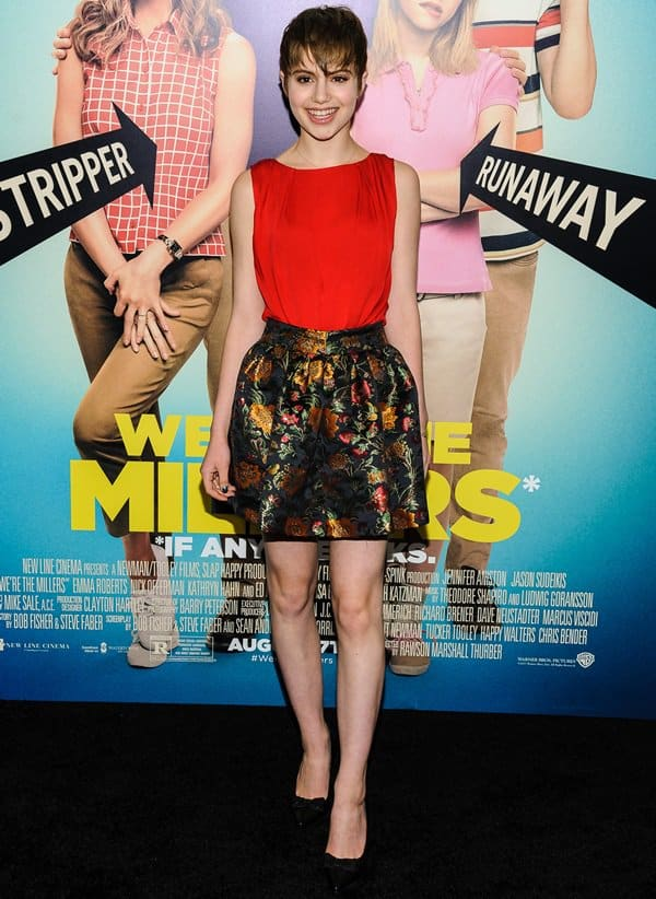Sami Gayle sported a hot red 'Gladys' top that was perfectly in sync with her 'Jack Box' floral skirt