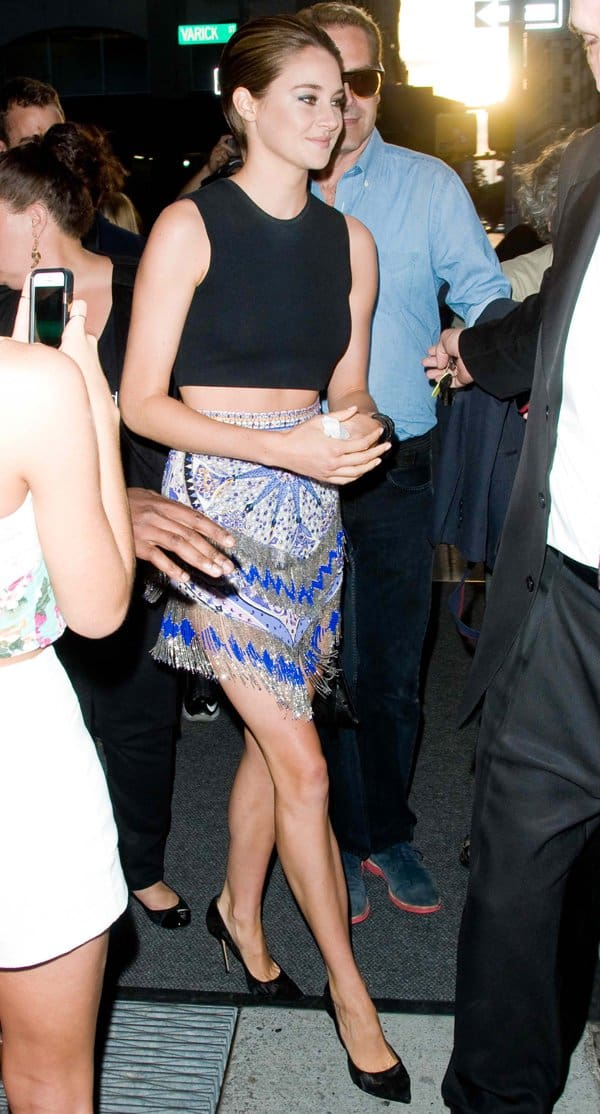 Shailene Woodley flaunted her legs in a printed Emilio Pucci skirt with a black cropped top