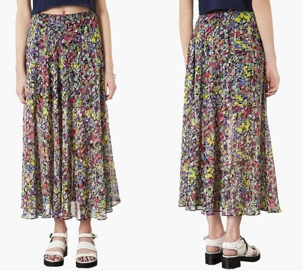 Topshop Dot Floral Print Maxi Skirt