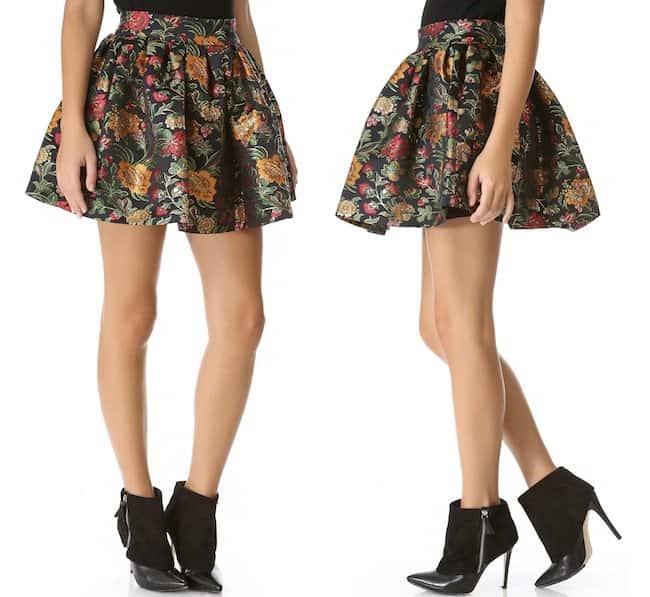 Alice + Olivia 'Jack Box' Pleated Floral Skirt in Black Multi
