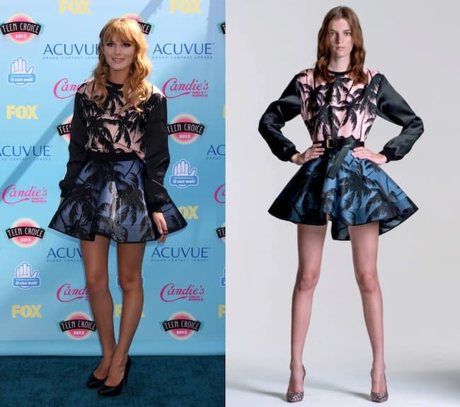 Bella Thorne wore a long-sleeved pullover top and an A-line miniskirt that she accessorized with a Diane von Furstenberg clutch bag and Candies pumps