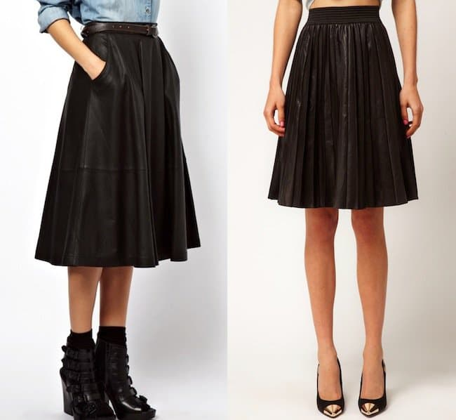 Black pleated skirts