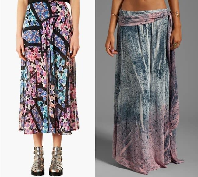 Topshop 'Cut About' Floral Maxi Skirt in Blue Multi and Blu Moon Wrap Skirt in Serpentine