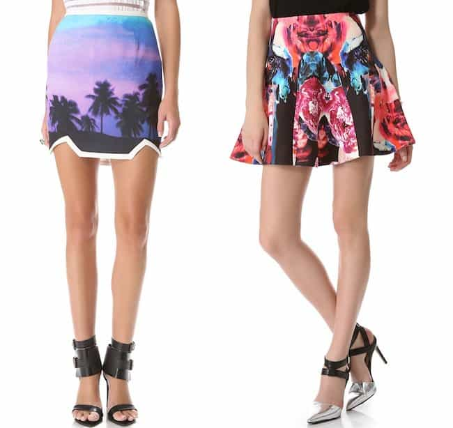 findersKEEPERS 'You Sent Me' Skirt in Paradise Beach Blue/Ivory and Nicholas 'Melted Floral' Scuba Godet Skirt