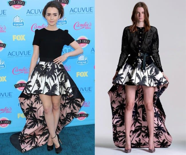 Lily Collins sported a black Houghton top that she paired with a Fausto Puglisi contrast-lined tail skirt