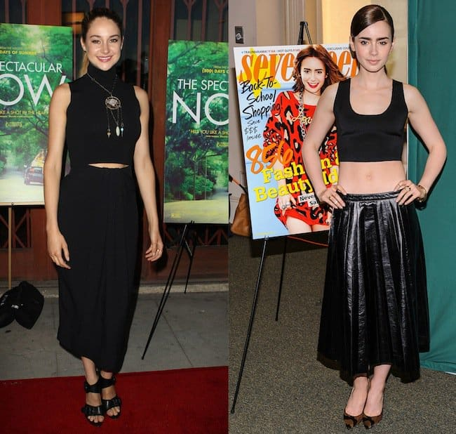 Shailene Woodley at the premiere of 'The Spectacular Now' at Vista Street Theatre in Los Angeles on July 30, 2013; Lily Collins at the 'Seventeen' magazine signing and meet and greet at Barnes & Noble Union Square in New York City on August 7, 2013