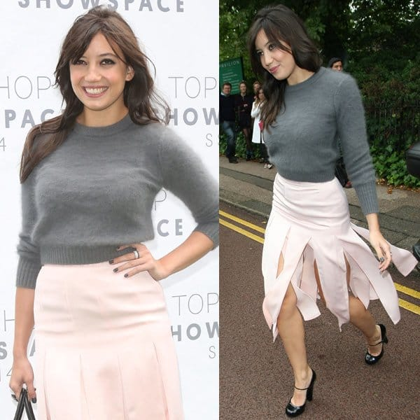 Daisy Lowe put on a gorgeous blush-colored spliced skirt from Topshop, which proudly showed itself off thanks to the evening's gusts of wind