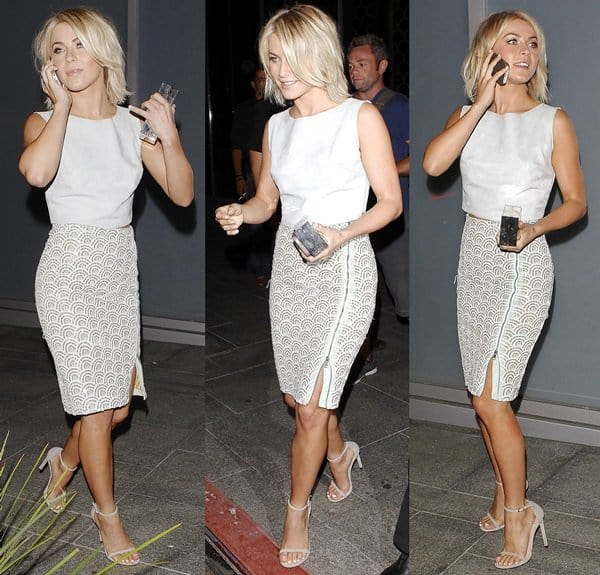 Julianne Hough's head-to-toe gray ensemble did wonders for her toned figure and mesmerizing blue eyes