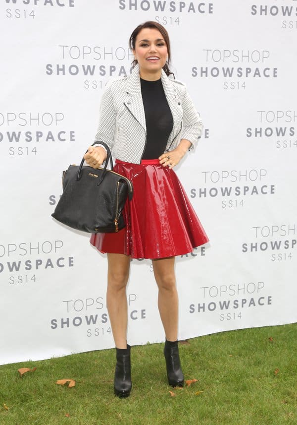 Samantha Barks attends the Unique show during London Fashion Week SS14 at TopShop Show Space
