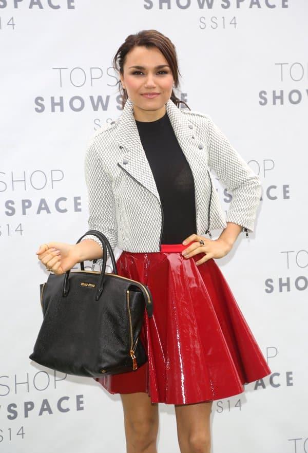 Samantha Barks rocked a glossy red skater skirt