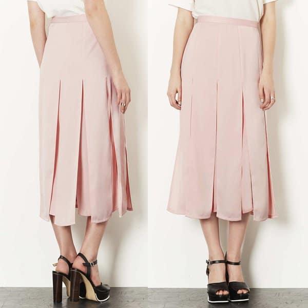 Topshop Spliced Midi Skirt in Blush