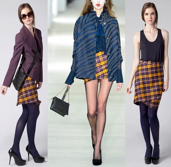 Vivienne Westwood Taxi Tartan Skirt in Yellow & Plum