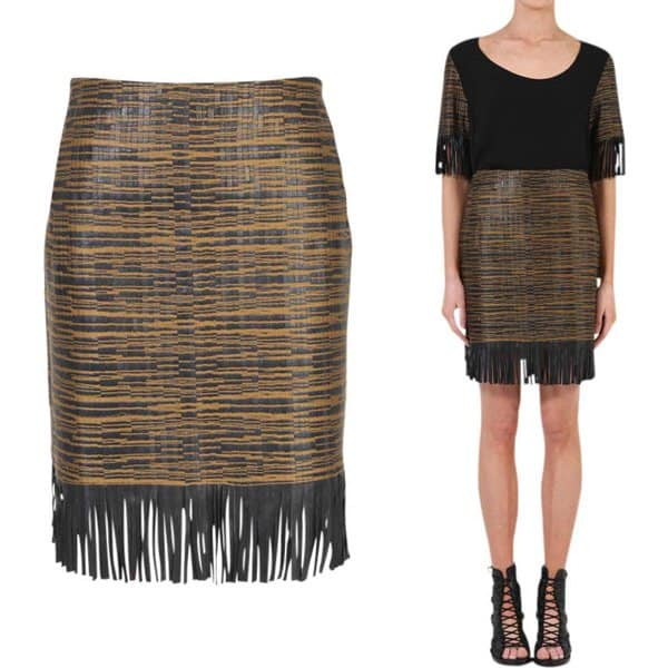Willow Jacquard Trim Leather Skirt