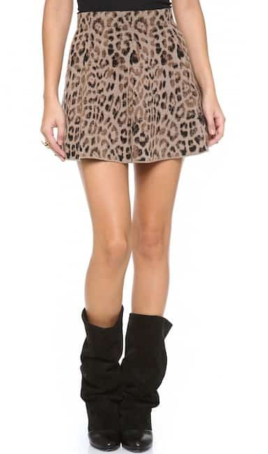 A swingy, leopard-print miniskirt in sweater-soft double knit