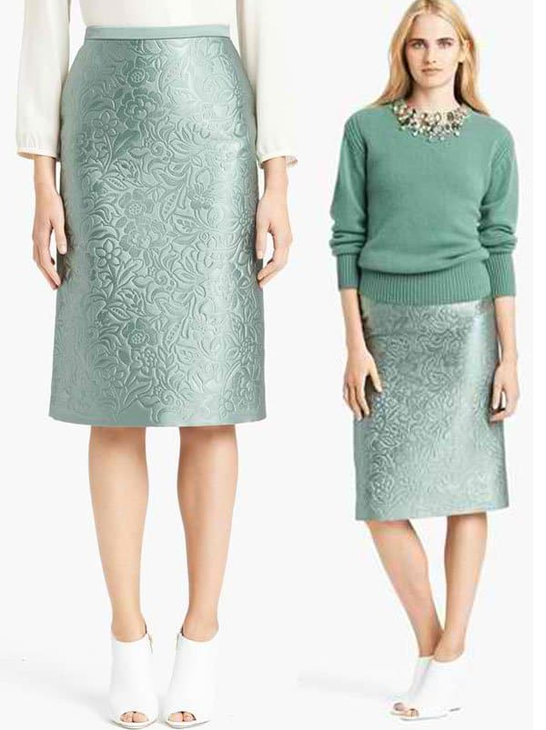 Burberry Prorsum Embossed Pencil Skirt