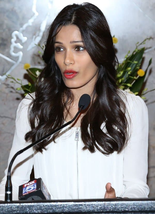 Freida Pinto led the lighting ceremony of the Empire State Building in New York City on October 10. 2013