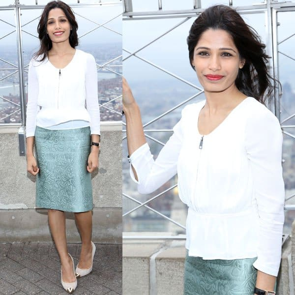 "28-year-old Indian beauty Freida Pinto led the lighting ceremony of the Empire State Building in New York as her way of showing her support for Plan USA's ""Because I am a Girl"" global campaign"