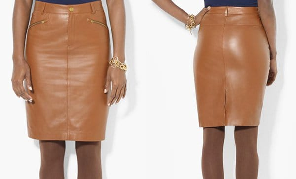 Lauren Ralph Lauren Leather Pencil Skirt