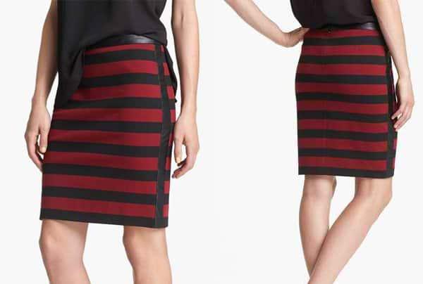 Vince Camuto Faux Leather Trim Stripe Pencil Skirt