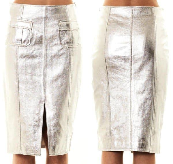 Jonathan Simkhai Metallic Leather Pencil Skirt