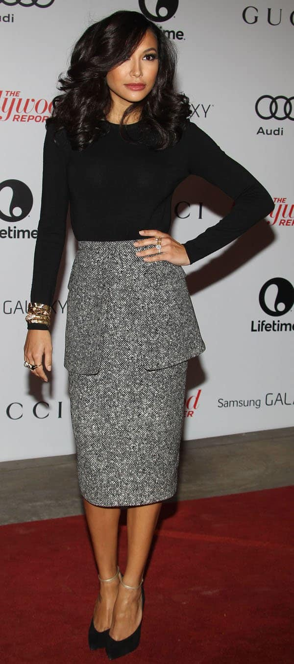 Naya Rivera wore a gorgeous tweed peplum skirt by Michael Kors, which she paired with a Michael Kors long-sleeved black wool bodysuit with a sexy cutout back