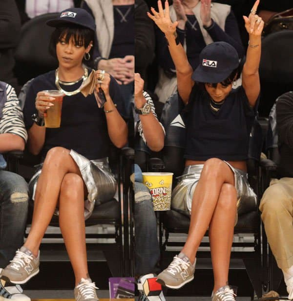 Rihanna has a great time at the Portland Trail Blazers at Los Angeles Lakers NBA basketball game at Staples Center