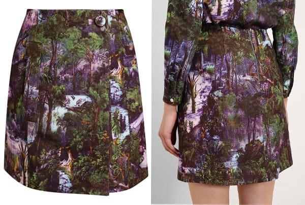Carven Jungle Printed Silk Blend Miniskirt
