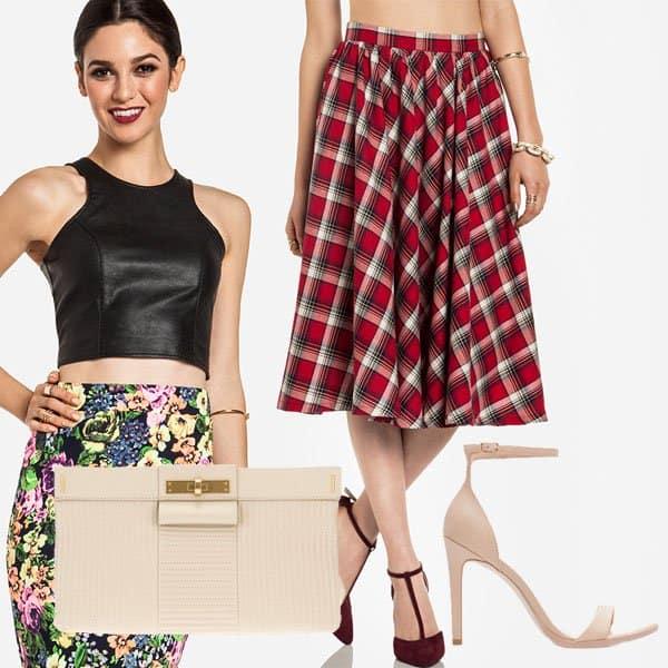 Outfit with flirty plaid tea length skirt