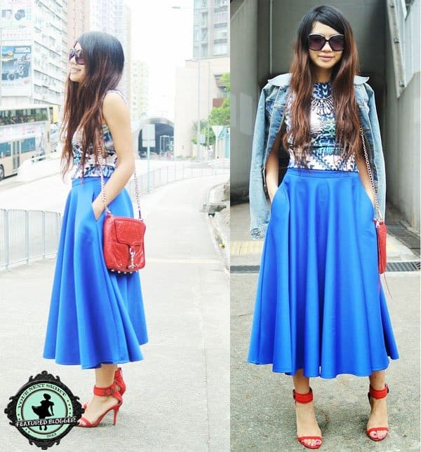 Janice styled a blue midi skirt with a funky geometric top in bright colors