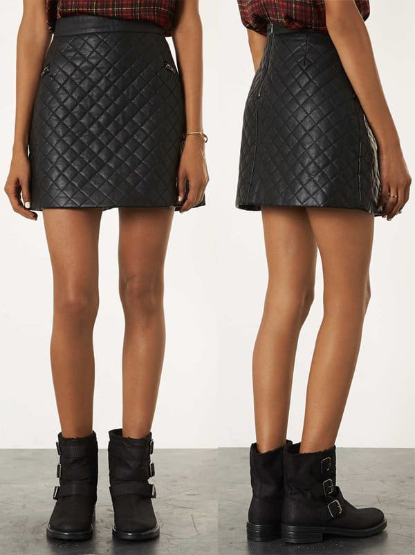 Topshop Petite Quilted A Line Skirt