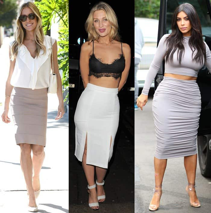 Celebrities wearing below-the-knee pencil skirts