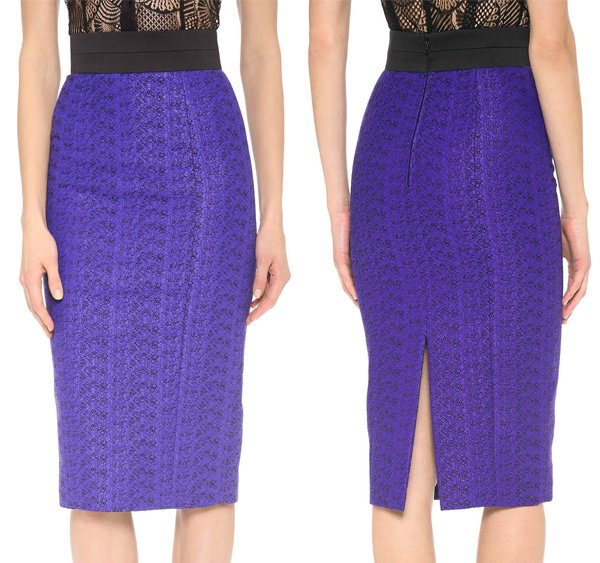 Rich, tactile tweed composes this elegant, high-waisted L'Wren Scott pencil skirt in purple and black