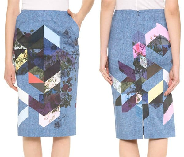 This flower tile pencil skirt is patterned in trompe l'oeil denim