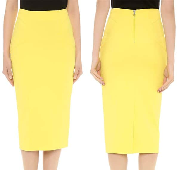 Raised seams lend a modern, tailored effect to this slim yellow Veronica Beard pencil skirt