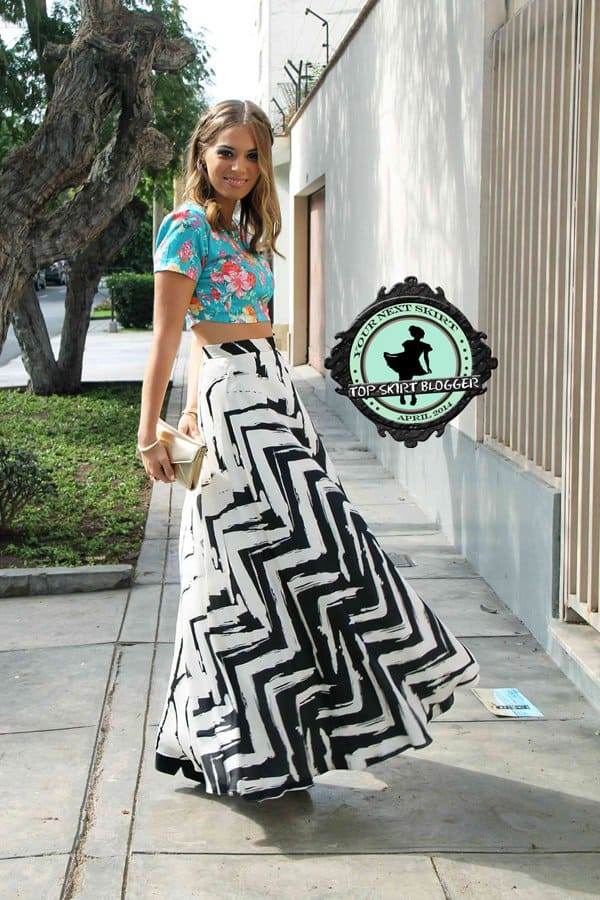 Didi looks fabulous in a zigzag-patterned maxi skirt