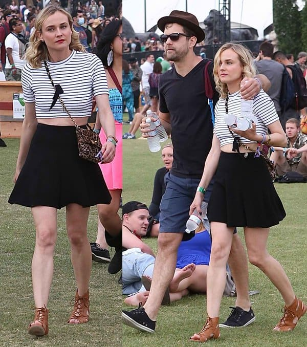 Diane Kruger and Joshua Jackson stay Hydrated at Coachella in Los Angeles on April 19, 2014