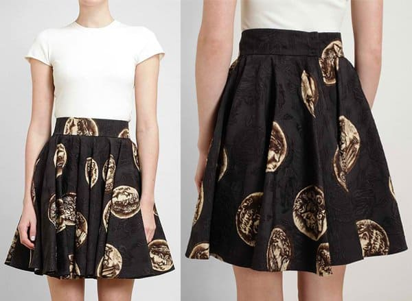 Dolce & Gabbana Coin Printed Textured Skater Skirt
