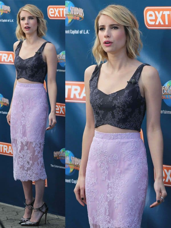 Emma Roberts appears on Extra in Los Angeles on May 7, 2014