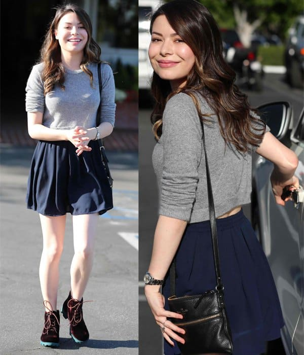 Miranda Cosgrove has lunch at Fred Segal with a male friend in Los Angeles on May 1, 2014