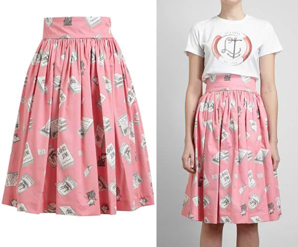 Olympia LeTan Book Printed Pleated Cotton Skirt