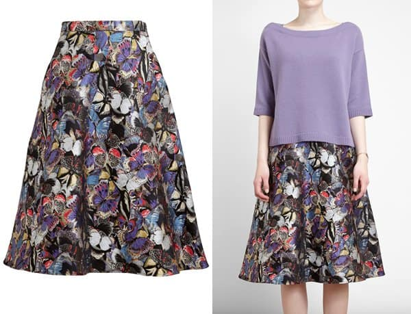 Valentino Butterfly Brocade Skirt
