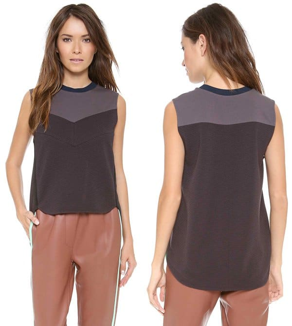 3 1 Phillip Lim Black Grey Shell Top with a Blue Round Neck